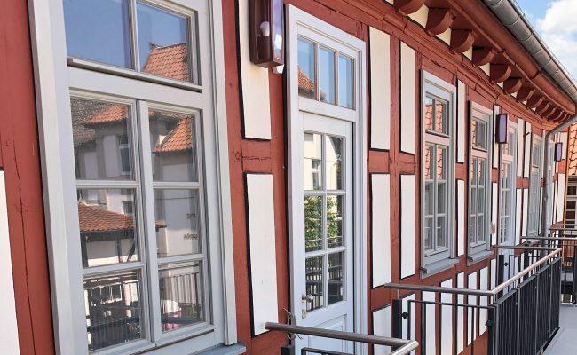 Umbau des ehemaligen Waisenhauses in Einbeck | Detail Fachwerk nach Fertigstellung